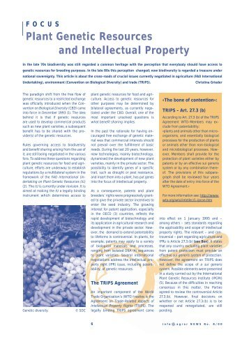 Plant Genetic Resources and Intellectual Property - Swiss Forum for ...