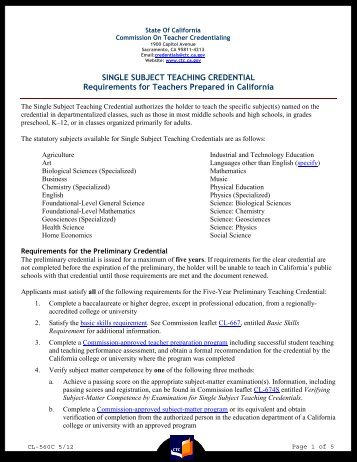 Cl 697b Commission On Teacher Credentialing State Of California