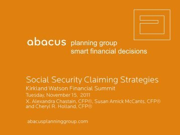 Social Security Claiming Strategies - Abacus Planning Group