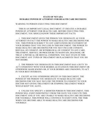 Nevada Durable Power Of Attorney For Health Care Statute As As Pdf