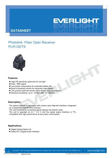 Photolink- Fiber Optic Receiver PLR135/T9 - Everlight.com