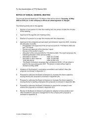 To the shareholders of TTS Marine ASA NOTICE ... - TTS Group ASA