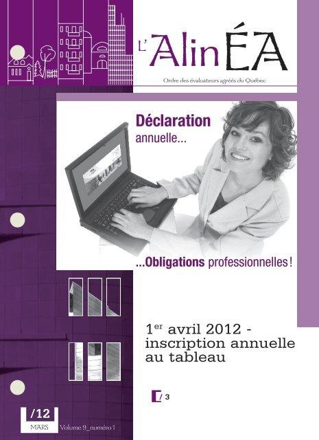 mars 2012 - Ordre des évaluateurs agréés du Québec