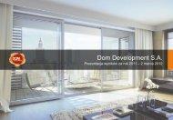 Dom Development wyniki finansowe 2011