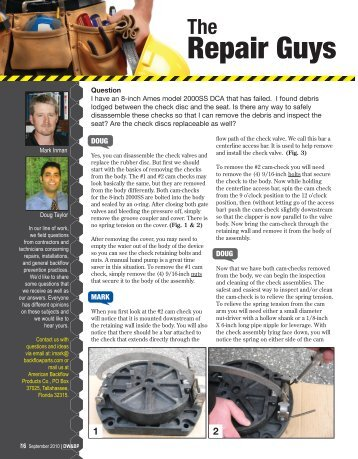 2000SS Repair Guys Article - Drinking Water & Backflow Prevention