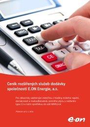 Ceník rozšířených služeb dodávky elektřiny a plynu platný od ... - E.ON