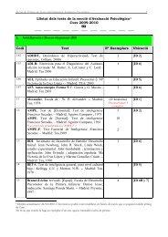 Llistat dels tests de la secció d'Avaluació Psicològica