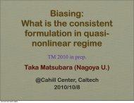 Biasing: What is the consistent formulation in quasi ... - IPMU