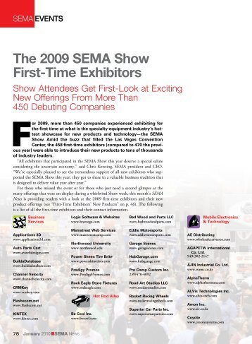 The 2009 SEMA Show First-Time Exhibitors