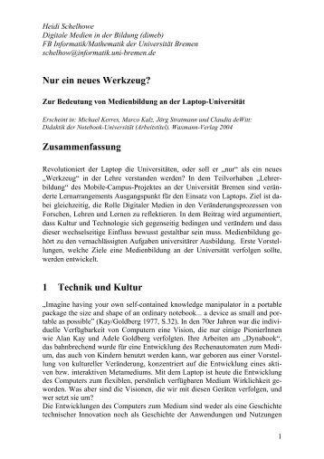 Nur ein neues Werkzeug? - DiMeB - Universität Bremen