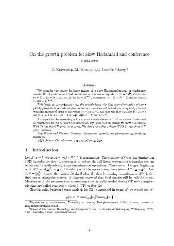 On the growth problem for skew Hadamard and conference matrices ...