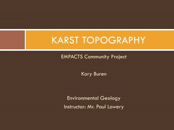Karst Topography and You - Faculty Web Pages