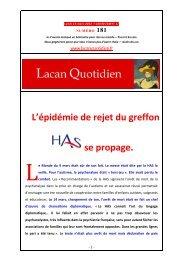 LQ 181 - Lacan Quotidien