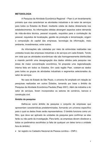 METODOLOGIA A Pesquisa da Atividade Econômica Regional ...