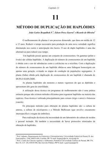 Método de duplicação de haplóides - Universidade Federal do Paraná