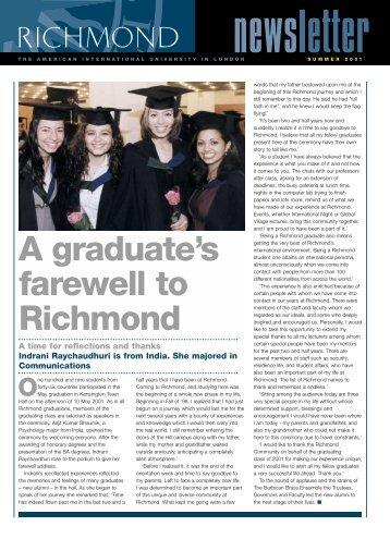 A graduate's farewell to Richmond - Richmond - The American ...