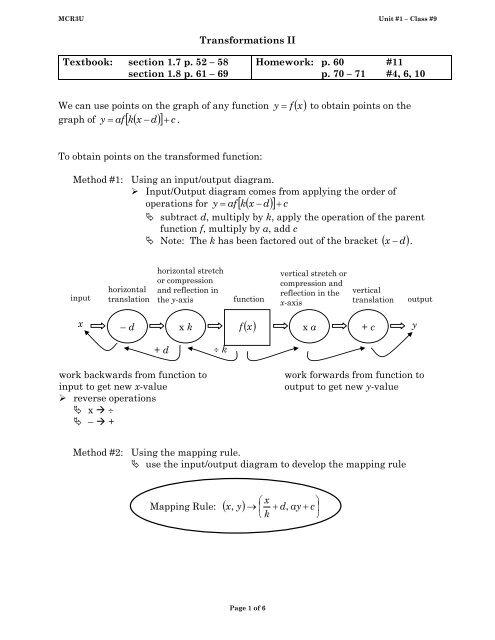 MCR3U unit #1 class #9 Transformations II pdf - Cordick