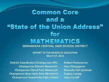 Math CCLS Update 2013 - Sewanhaka Central High School District