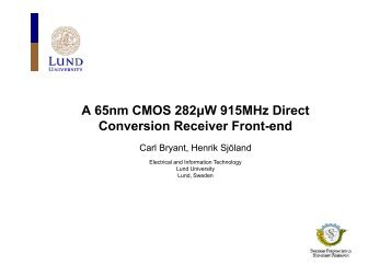 A 65nm CMOS 282uW 915MHz Direct Conversion Receiver Front-End