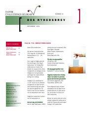 Nyhedsbrev 14. udgave, september 2011 - Dansk Evalueringsselskab