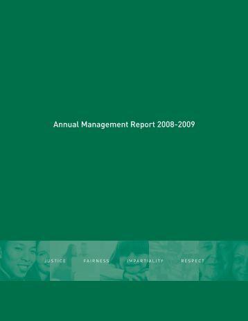 Annual Management Report 2008-2009 - Le Protecteur du citoyen