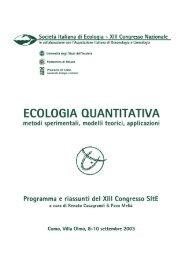 volume - Società Italiana di Ecologia