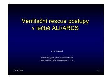 Ventilační rescue postupy v léčbě ALI/ARDS