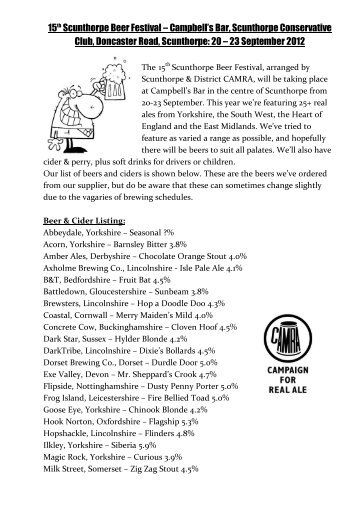 15th Scunthorpe Beer Festival - Scunthorpe & District CAMRA