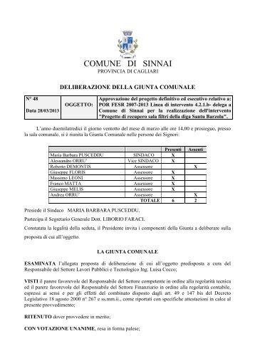 settore lavori pubblici e tecnologici - Comune di Sinnai