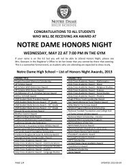 NOTRE DAME HONORS NIGHT - Notre Dame High School