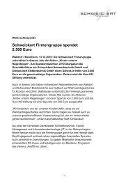 Schweickert Firmengruppe spendet 2.500 Euro