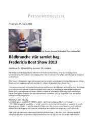 Bådbranche står samlet bag Fredericia Boat Show 2013 - Messe C