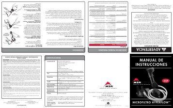MANUAL DE INSTRUCCIONES - Cascade Designs, Inc.