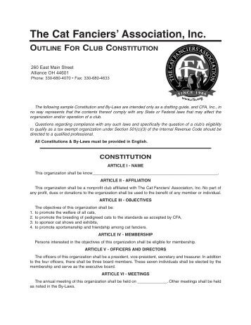 club constiution Betley football club constitution & rules 1 the club shall be called betley football club 2 the objectives of the club shall be to arrange association football matches.