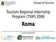 Tourism Regional Internship Program (TRIP) 2006 - School of Tourism