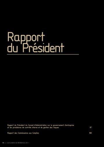 Rapport du Président du Conseil d'Administration sur le ... - Nexans