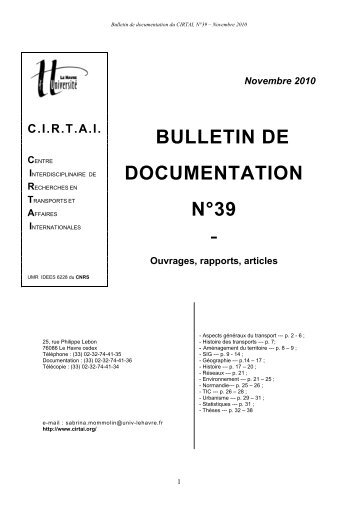 Novembre 2010 BULLETIN DE DOCUMENTATION N°39 - cirtai