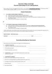 Homerton College, Cambridge Financial Undertaking Form for ...