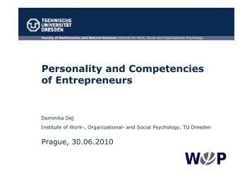 Personality and Competencies of Entrepreneurs