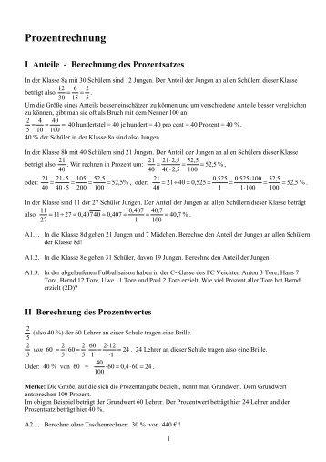 Prozentrechnung I Anteile - Berechnung des Prozentsatzes