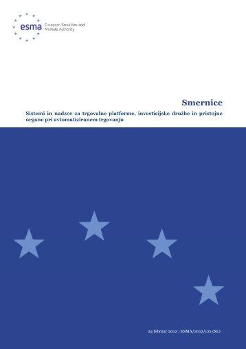 Sistemi in nadzor za trgovalne platforme, investicijske družbe in ...