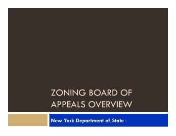 zoning board of appeals overview - Capital District Regional ...