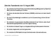 Ziele des Teamabends vom 13. August 2008: