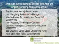 Thanks to the following people for their help - Urban Land Institute