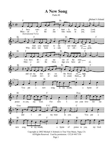 A New Song (Lead Sheet) - Christian songs 4 Praise And Worship