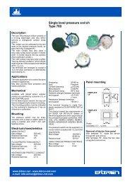Single level pressure switch Type 760 - Rockby