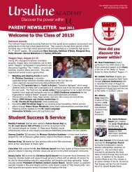PARENT NEWSLETTER Sept 2011 Welcome to the Class of 2015 ...