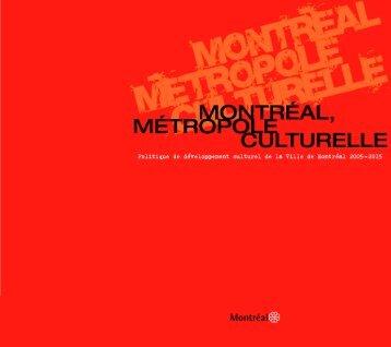 Politique de développement culturel - Ville de Montréal