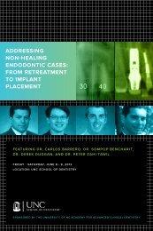 addreSSing non-heaLing endodonTiC CaSeS - UNC School of ...