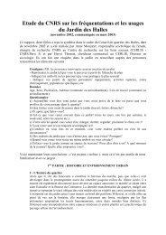 Etude du CNRS sur les fréquentations et les usages du Jardin des ...